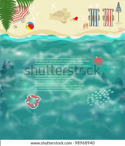 Summer Beach Background - Tropical beach with folding chairs, parasols, sand castle, seashells, colorful ball and other holiday accessories, on golden sand and glittering ocean water as a background - stock vector