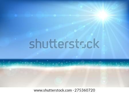 Summer beach bokeh vector background with sun flare. - stock vector