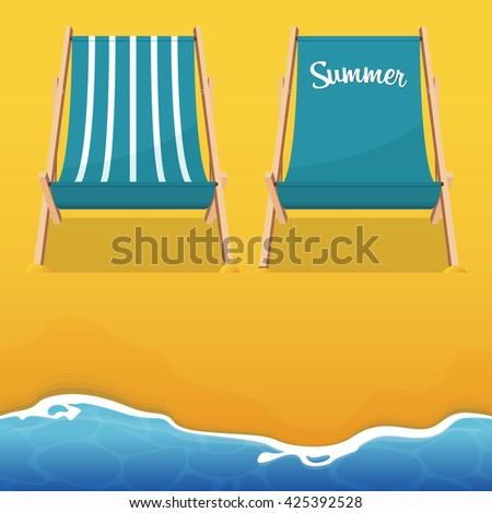 Summer beach chair on beach background. Wooden chair. Vector Illustration.  - stock vector