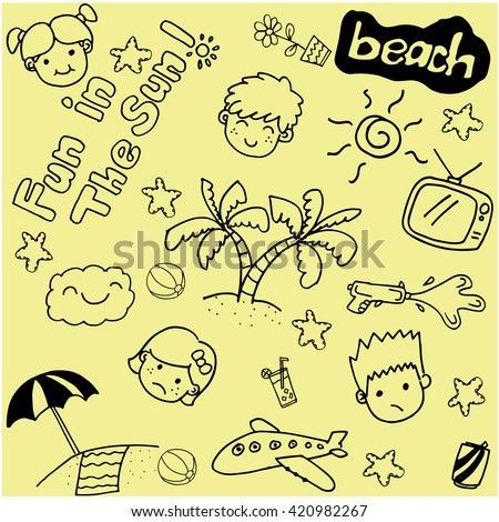 Summer beach doodle art with yellow backgrounds