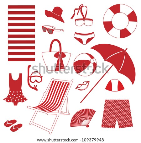 Summer beach elements set