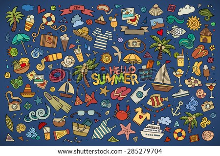 Summer beach hand drawn vector symbols and objects - stock vector