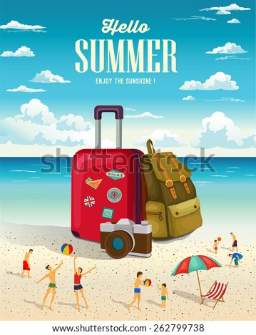 Summer beach holiday vector background. Vacation and Travel concept. - stock vector
