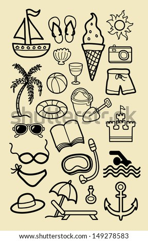 Summer Beach Icon Sketches Nice Vector Hand Drawing Activity Icons Good Use For