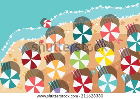 Summer beach in flat design, aerial view, sea side and colorful umbrellas, vector illustration - stock vector