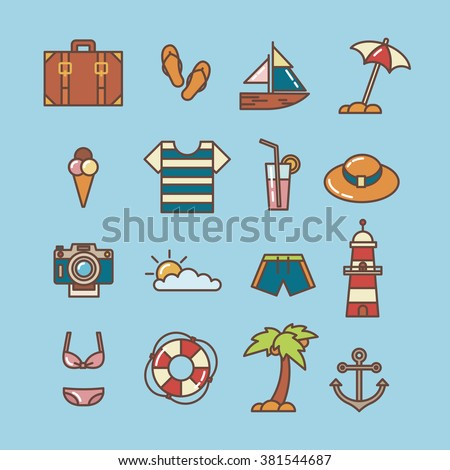 Summer beach line icons. Vector illustration