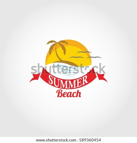 Summer Beach Logo Design Vector