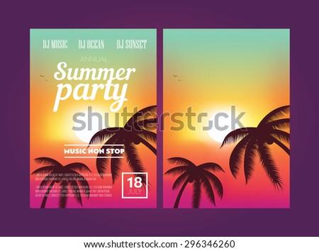 Summer Beach Party Flyer - stock vector