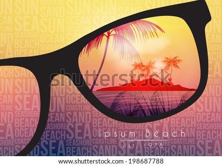 Summer Beach Party Flyer Design with Sunglasses on Blurred Background - Vector Illustration - stock vector