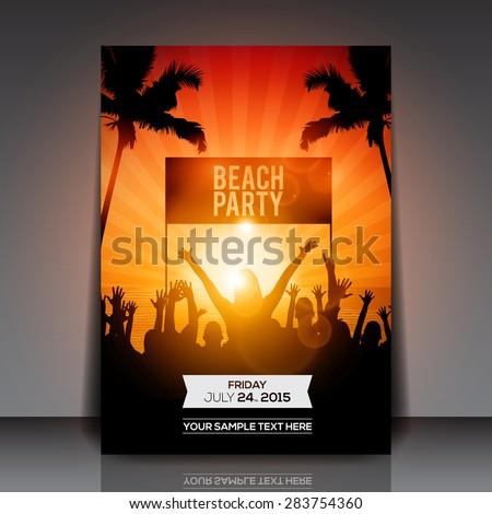 Summer Beach Party Flyer - Vector Design - stock vector