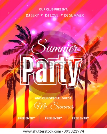 Summer Beach Party Flyer - Vector Design. EPS 10 - stock vector