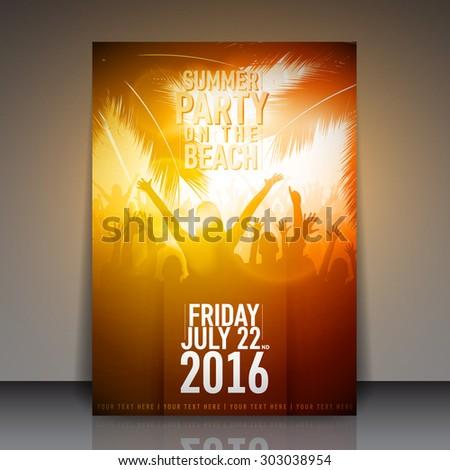 Summer Beach Party Flyer - Vector Template Design - stock vector