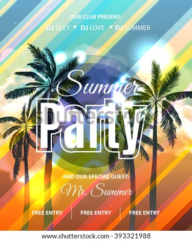 Summer Beach Party Flyer with tropical palm backgound. Vector Design EPS 10