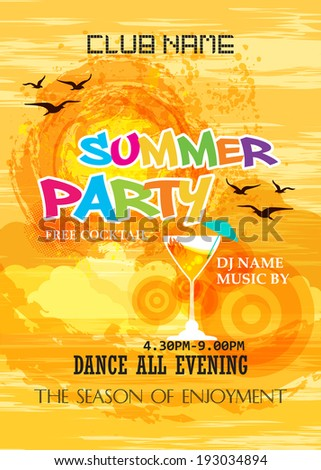 Summer Beach Party Poster, Flyer Design - stock vector