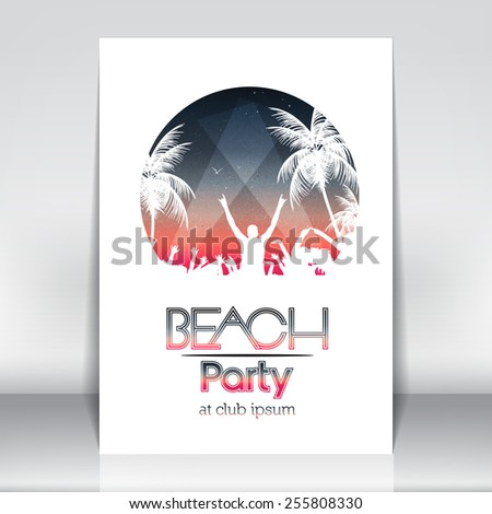 Summer Beach Party Poster Template - Vector Illustration - stock vector