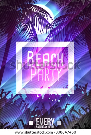 Summer Beach Party Poster - Vector Illustration
