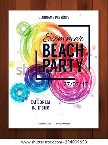 Summer Beach Party. Sunset. Flyer, Poster template - Vector Design. - stock vector