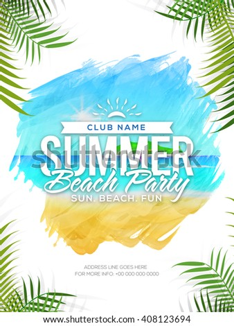 Summer Beach Party Template, Summer Vacation Flyer, Musical Party Banner. Creative vector illustration with beautiful nature view. - stock vector