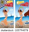 Summer beach party vector design - stock vector