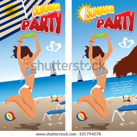 Summer beach party vector design - stock vector