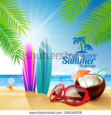 summer beach relax - stock vector