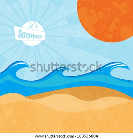 Summer beach retro vector - stock vector
