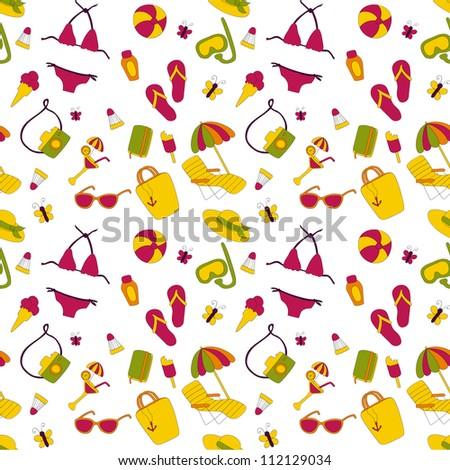 Summer beach seamless pattern - stock vector