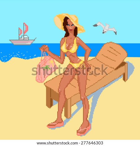 Summer, beach set of four elements with a girl in a swimsuit in full growth. Vector illustration