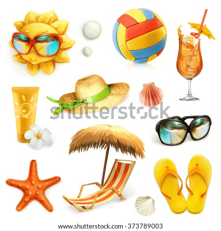 Summer beach, set of vector icons - stock vector