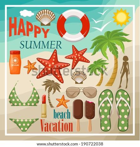 Summer beach set. vector - stock vector