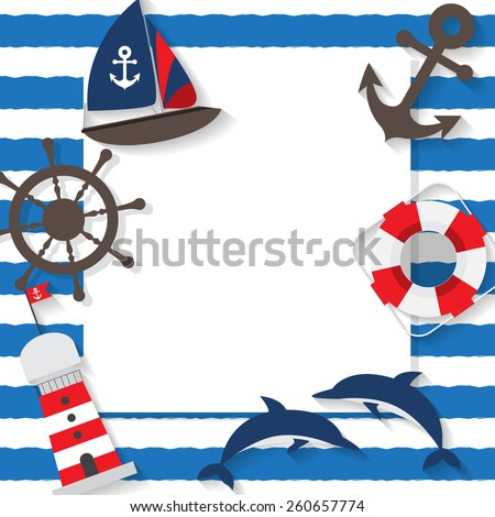 summer beach, travel, vacation background, sailor concept, text can be add  for advertising, wallpaper, greeting card - stock vector