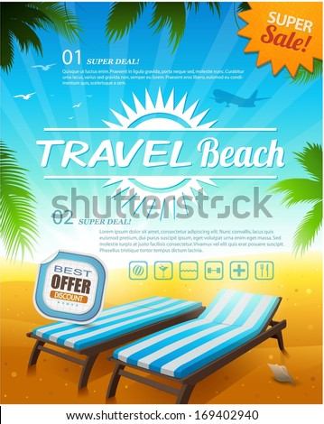 Summer beach vacation background illustration - stock vector