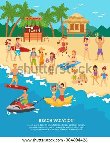 Summer Beach Vacation Scene With Flat People Silhouettes Vector Illustration