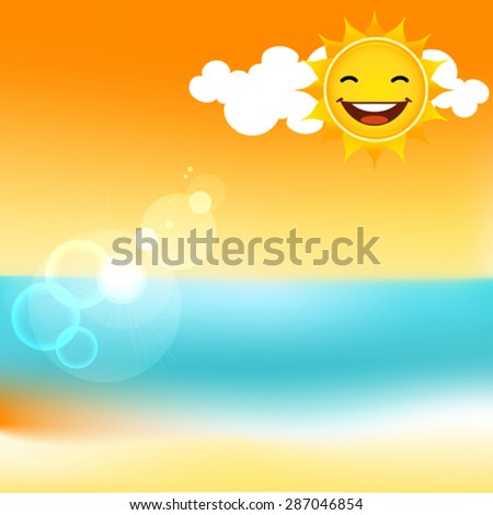 Summer beach vector background. Objects are organized on separate layers. - stock vector