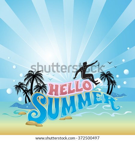Summer beach vector background with surf