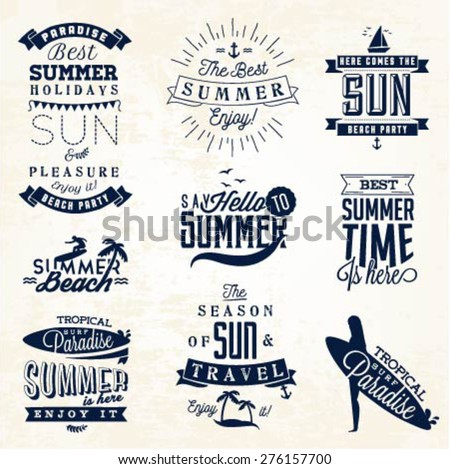 Summer Beach Vector Calligraphy Design Elements in Vintage style - stock vector
