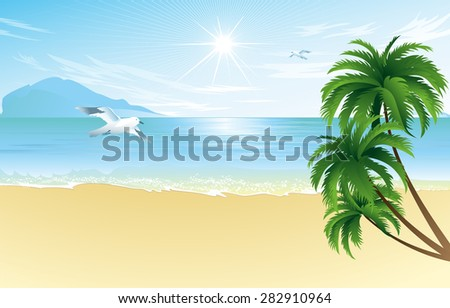 Summer beach with palm trees and seagull  vector illustration - stock vector