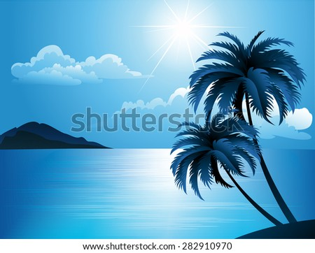 Summer beach with palm trees vector illustration - stock vector