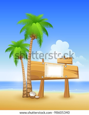 Summer beach with palms and wooden sign. Vector illustration