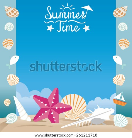 Summer Beach with Sea Shell and Starfish Frame - stock vector