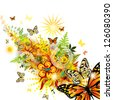 Summer beautiful abstraction with butterflies. vector - stock vector