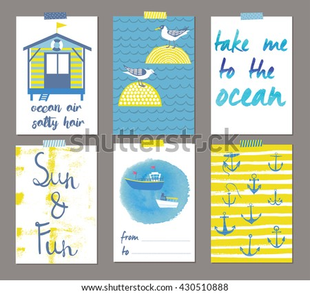 Summer Beautiful Cards. Print Design - stock vector