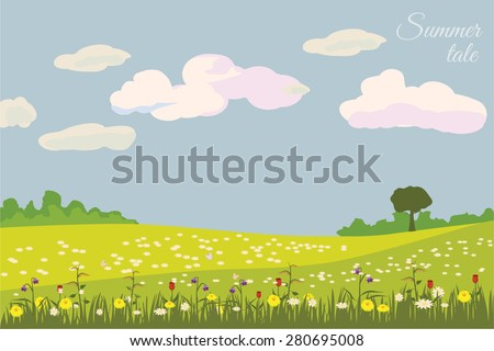 Summer beautiful landscape, meadow, grass, flowers, vector illustration