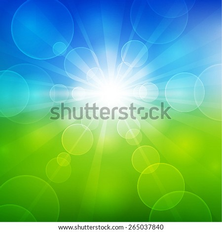 Summer beautiful landscape view with sunlight. Vector illustration. - stock vector