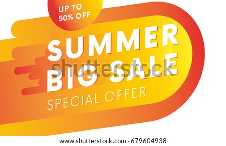 Summer big sale banner. Up to fifty percent off.  Special offer. Vector.