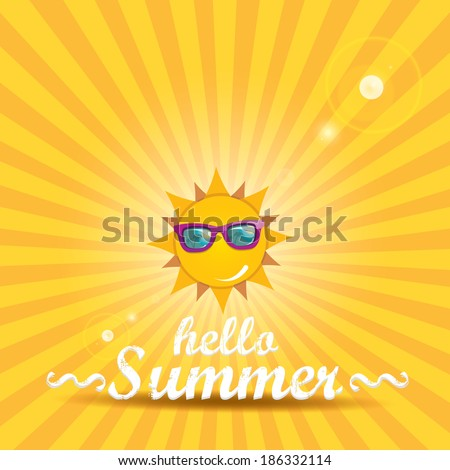 summer blue sky with sun wearing sunglasses . vector summer illustration. summer holiday. - stock vector