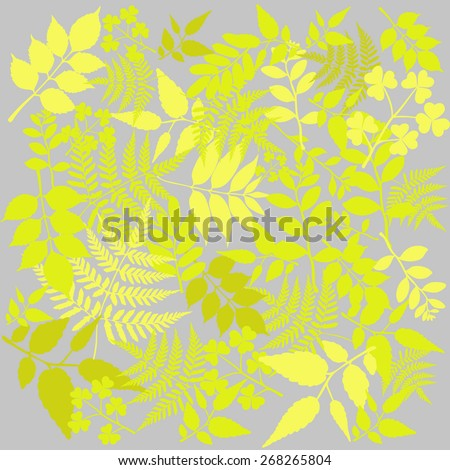 Summer branch with fresh green leaves. Vector illustration - stock vector