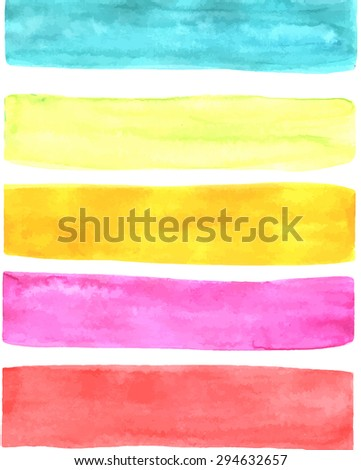 Summer bright watercolor stripes isolated on white for design. Vector illustration