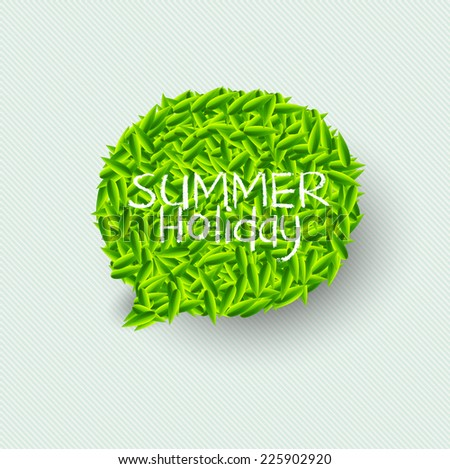 Summer Bubble for speech, Green leaves. Vector illustration. - stock vector