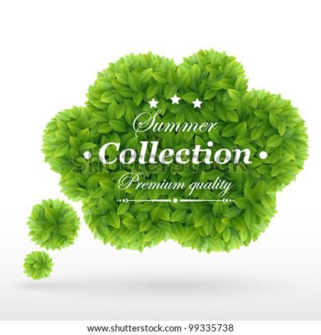 Summer Bubble for speech, Green leaves. Vector illustration. - stock vector